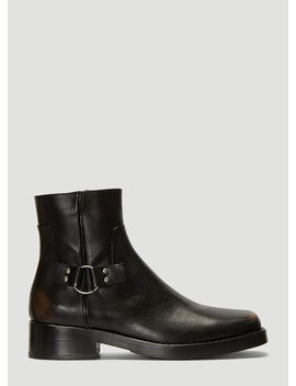 Buckle Ankle Boots In Black by Raf Simons