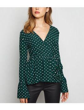 blue-vanilla-green-polka-dot-wrap-top by new-look