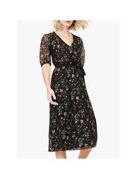 oasis-floral-lace-midi-dress,-black by oasis