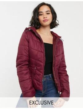bershka-lightweight-puffer-jacket-in-burgundy by bershka