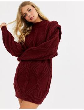 asos-design-cable-jumper-dress-with-shoulder-detail by asos-design