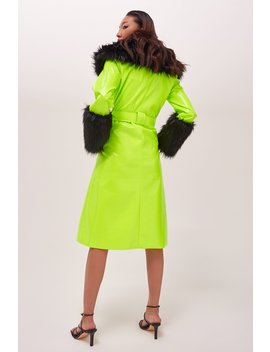 neon-midi-coat-with-black-faux-fur by jaded-london
