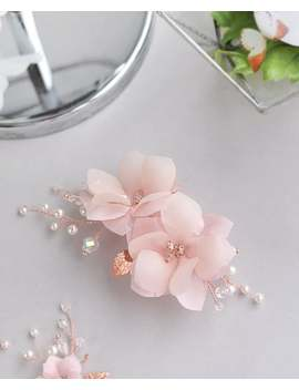 pink-silk-flower-bride-headpiece-blush-wedding-bridesmaids-hair-piece-with-flower-rose-gold-pearl-floral-accessories-rustic by etsy