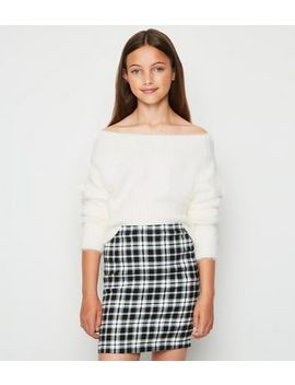 girls-black-check-tube-skirt by new-look