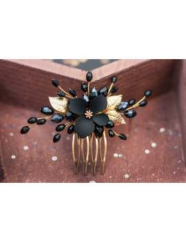 black-gold-hair-comb,-gold-floral-hair-pieces,-total-all-black-headpiece,-hair-accessory-for-bridesmaid,-dark-hairclip by etsy