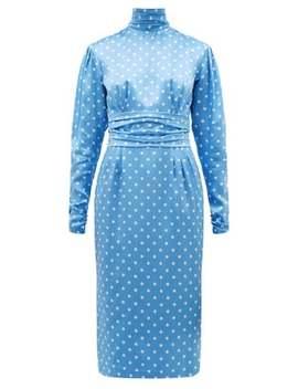 high-neck-polka-dot-print-silk-satin-dress by alessandra-rich