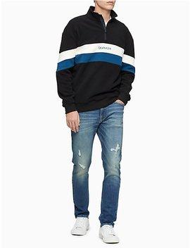 polar-fleece-colorblock-logo-stripe-zip-sweatshirt by calvin-klein