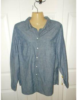 nwot-lands-end-womens-blue-denim-jean-shirt---plus-size-20w-(2xl) by lands-end