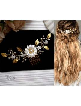 bridal-hair-comb-with-flowers-and-gold-leaves,-pearl-wedding-hair-comb,-bohemian-bridal-hair-piece-pg0036 by etsy