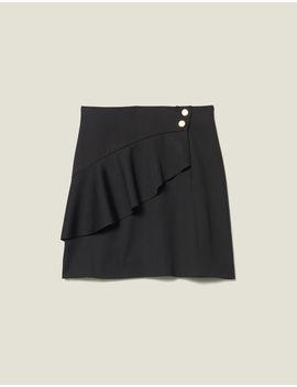 short-skirt-with-asymmetric-ruffle by sandro-paris