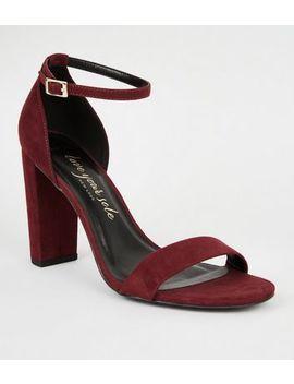 wide-fit-burgundy-suedette-2-part-block-heels by new-look
