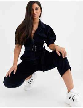 asos-design-petite-cord-belted-jumpsuit-with-tapered-leg by asos-design