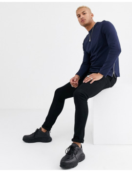 asos-design-long-sleeve-t-shirt-with-side-zips-in-navy by asos-design