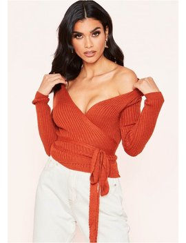 kai-rust-plunge-wrap-knitted-top by missy-empire