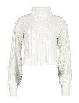 rib-knit-roll-neck-balloon-sleeve-jumper by boohoo