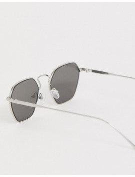 asos-design-angled-sunglasses-in-silver-with-smoke-lens by asos-design
