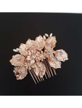 jessica-rose-gold-bridal-hair-comb-rose-gold-bridal-hair-comb-rose-gold-wedding-hair-accessories-rose-gold-head-pieces-bridal-hair-pieces by etsy