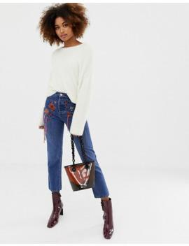 asos-design-–-florence-–-mellanblå,-raka-jeans-med-broderier by asos-design