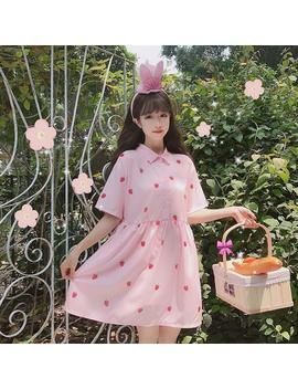 Strawberry Printed Short Sleeve Dress by Dog Dog