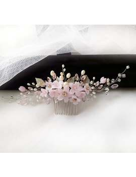 pink-bridal-hair-comb-,-flower-hair-accessories-with-silver-leaves-freshwater-pearls by etsy
