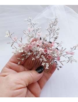 delicate-blush-floral-bridal-hair-comb-for-veil-silver-woodland-diadem-back-wedding-hair-piece-whimsical-wedding-headband-braid-hair-jewelry by etsy