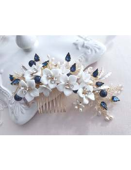 flower-hair-comb,-navy-blue-hairpiece-for-bride,-wedding-statement,-rhinestone-crystals,-freshwater-pearls,-bridal-headpiece,-hair-jewelry by etsy