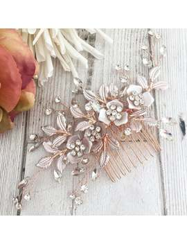 blush-hair-comb_-gold-hair-comb_-bride-accessories_bridesmaid-accessories_-flower-girl_-hair-accessories_-hair-comb_gold-hair-pins by etsy