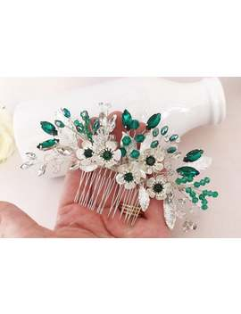 bridal-hair-comb,-emerald-green-wedding-headpiece,-sparkling-crystals-with-silver-leaves,-suitable-for-bride-or-bridesmaids,-must-see by etsy