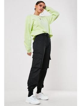 black-self-belted-cargo-trousers by missguided