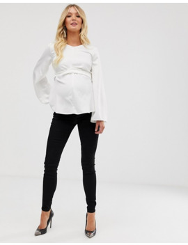 asos-design-maternity-tall-ridley-high-waisted-skinny-jeans-in-clean-black-with-over-the-bump-waistband by asos-design