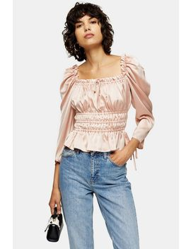 nude-satin-ruched-prairie-blouse by topshop
