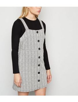 petite-light-grey-check-pinafore-dress by new-look