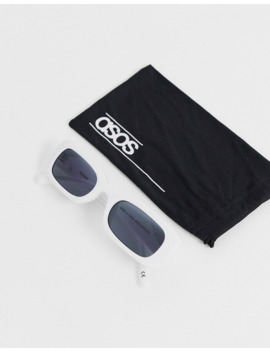 asos-design-narrow-square-sunglasses-in-white by asos-design