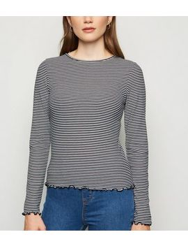 white-stripe-frill-trim-long-sleeve-t-shirt by new-look