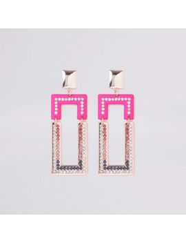 pink-diamante-rectangle-drop-earrings by river-island