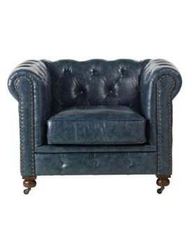 gordon-blue-leather-arm-chair by home-decorators-collection