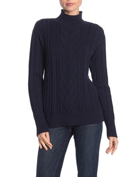 mock-neck-cable-knit-sweater by j-crew