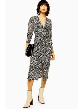 idol-mix-fabric-v-neck-ruched-midi-dress by topshop