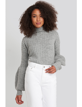 high-neck-puff-sleeve-knitted-sweater-grå by trendyol