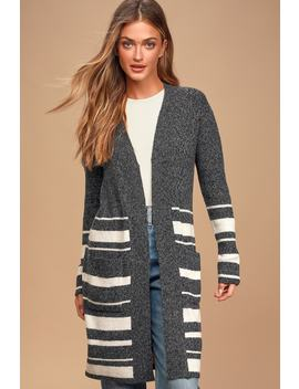 words-of-love-charcoal-grey-striped-long-cardigan-sweater by olive-+-oak