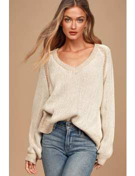 cozy-commitment-cream-v-neck-knit-sweater by lulus