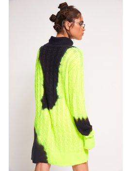 neon-bleached-turtle-neck-jumper-dress by jaded-london