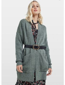 khaki-longline-ribbed-cardigan by miss-selfridge
