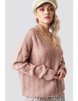 v-neck-pattern-knitted-sweater-lyserød by kaesutherlandxnakd