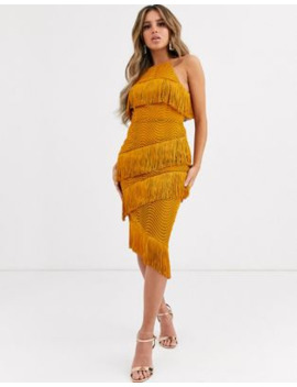 asos-design-midi-dress-with-tiered-fringing-in-spiral-lace by asos-design