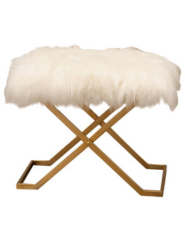 Abbyson Living Lital Gold And Faux Fur Bench by Abbyson Living