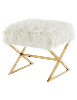 Oria Faux Fur X Leg Gold Base Ottoman, White/Gold by Inspired Home