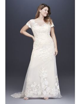 Floral Illusion Cap Sleeve Plus Size Wedding Dress by Melissa Sweet