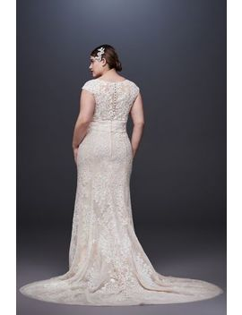Cap Sleeve Plunging V Neck Plus Size Wedding Dress by Oleg Cassini