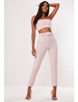 Pink Co Ord Stretch Crepe Belted Cigarette Trousers by Missguided